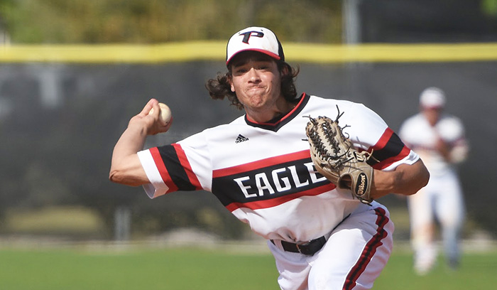 Led by Zach Schneider, Eagles pitchers had the lowest ERA in the nation at 2.54. (Photo by Tom Hagerty, Polk State.)