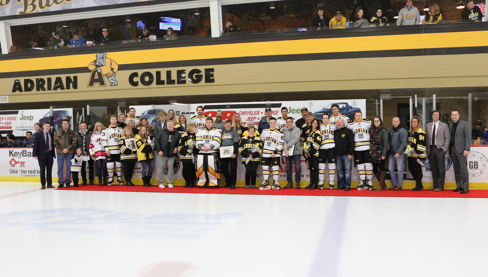 Adrian Bulldogs men's hockey celebrated Senior Day 2019 with a 3-1 win against Aurora on Saturday. (Photo by Mike Dickie)