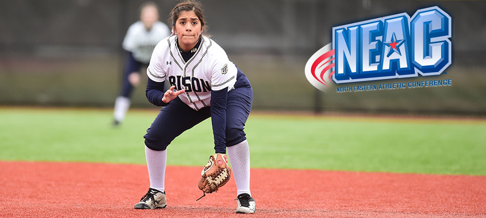 Gallaudet junior softball player Jacklyn Zacarias plays the infield for the Bison. Her glove is on her left hand as she prepares for the next pitch to be thrown.