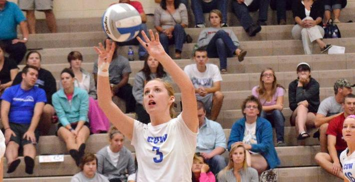 Valentine records triple-double, Volleyball falls in five-set thriller to Aurora