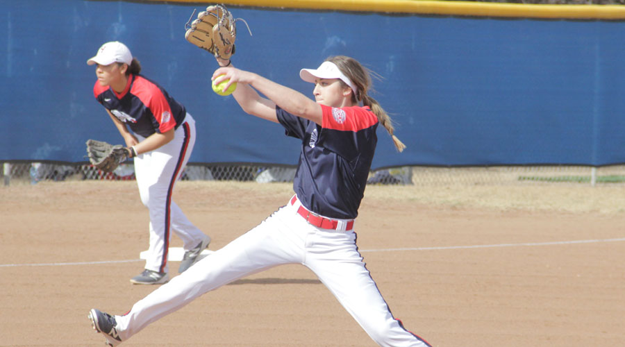Sophomore pitcher D.J. Cannon wins her 20th career game in Hutchinson's 6-1 win in the first game of a doubleheader sweep Wednesday at Barton. (Photo courtesy Barton SID Todd Moore)
