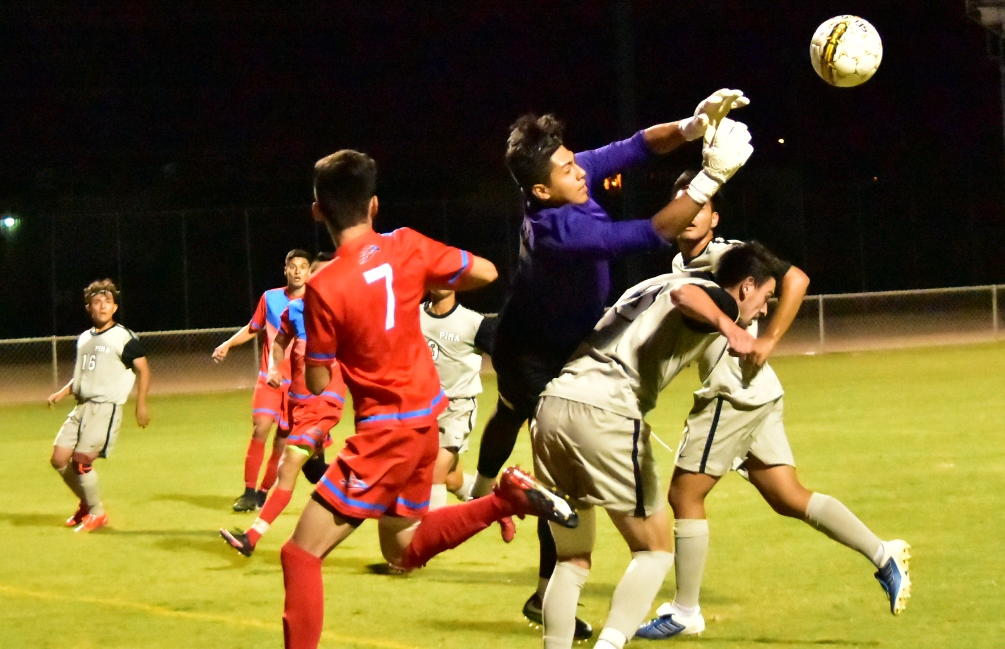 Pima freshman goalkeeper David Silva finished with four saves as the Aztecs men's soccer team and Yavapai College played to another tie on Tuesday. The Aztecs are 10-1-3 overall. Photo by Ben Carbajal