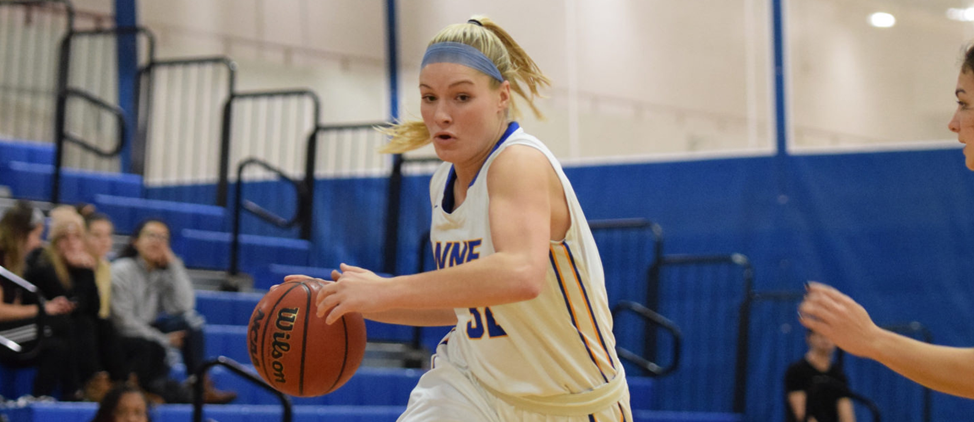 Courtney Carlson led the Golden Bears with 20 points as WNE defeated UNE 67-59 on the road in the CCC Tournament semifinals on Thursday night. (Photo by Rachael Margossian)