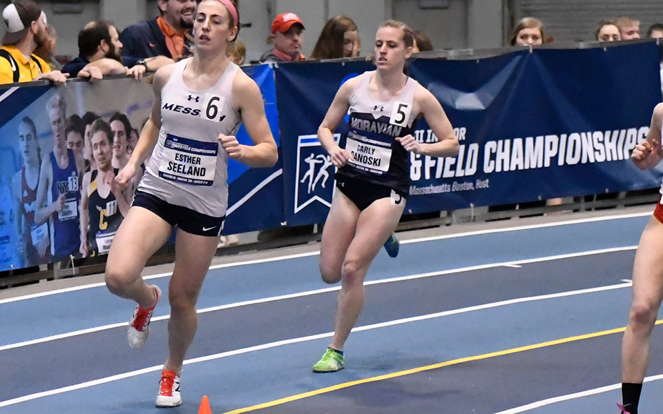 Junior Carly Danoski runs in the 800-meter preliminaries at the 2019 NCAA Division III Indoor National Championships at the Reggie Lewis Track and Athletic Center in Boston. Photo by d3photography.com