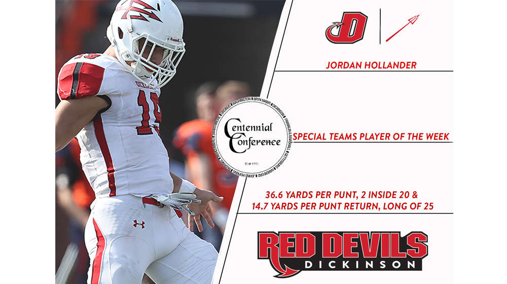 Hollander Named CC Special Teams Player of the Week
