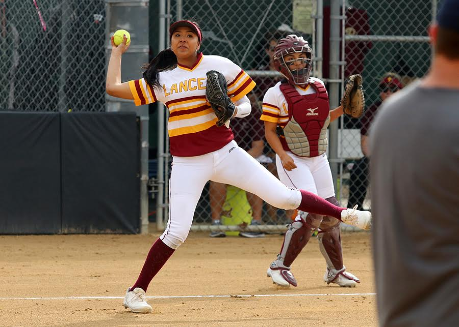 Brittany Ching makes the throw to first during PCC's game at Robinson Park Thursday, photo by Richard Quinton.