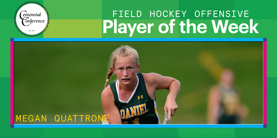 Megan Quattrone, the Centennial Conference field hockey offensive player of the week, dribbles a ball.