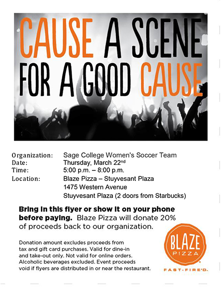 Join Sage's Women's Soccer Team at Blaze Pizza on March 22!