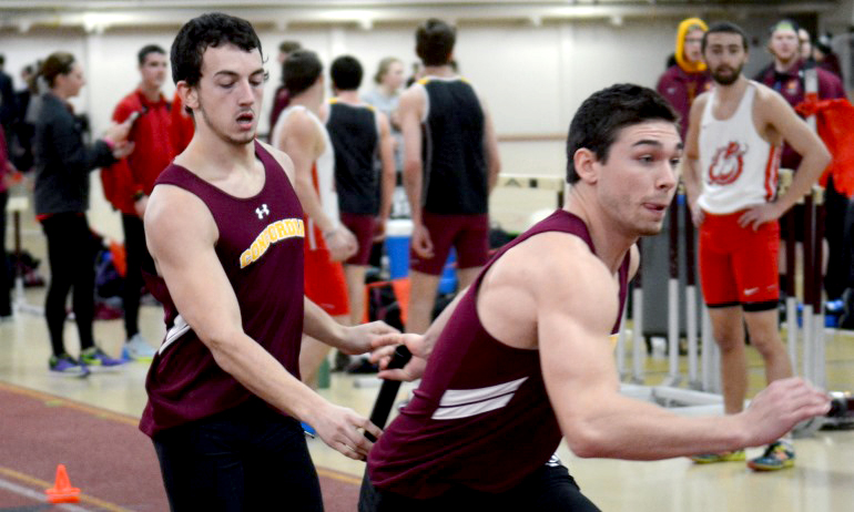 Chris Cunningham (L) and Jason Montonye had two of the Cobbers' all-time top 25 marks at the SJU Indoor Invite.