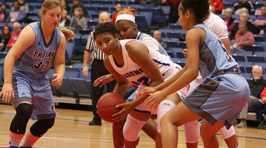 Dejanae Roebuck and the No. 12 Blue Dragons travel to Garden City for a 6 p.m. contest at Conestoga Arena. (Joel Powers/Blue Dragon Sports Information)