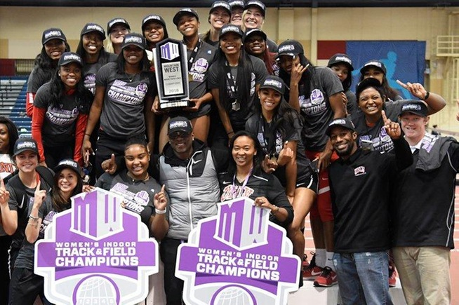 Najia and Nylia Hudspeth (upper left) help lead UNLV to the Mountain West indoor track title