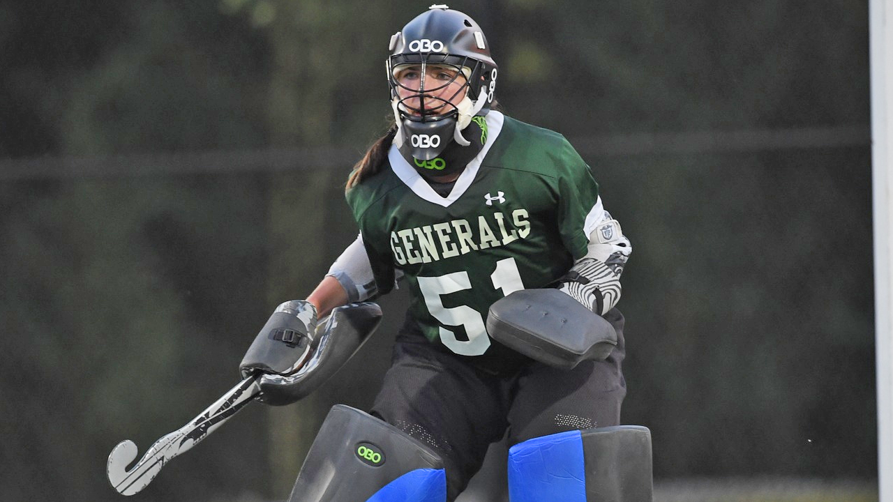 W&L keeper Ariel Yavalar made 16 saves in the Generals 3-2 loss to Messiah in the second round of NCAA field hockey.