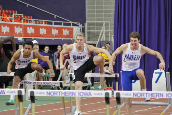 RedTail hurldlers (L to R) Terrel Jordan, Nick Durnin, and Riley Little compete at the Jack Jennett Invite hosted by the University of Northern Iowa.