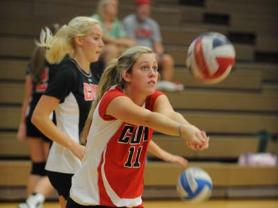 CUA volleyball splits two matches on final day of EMU Invite