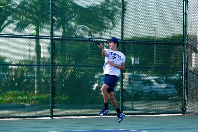 Julian Avila and the Falcon men's tennis team opened SCC play with a 7-2 win over Mt. SAC.
