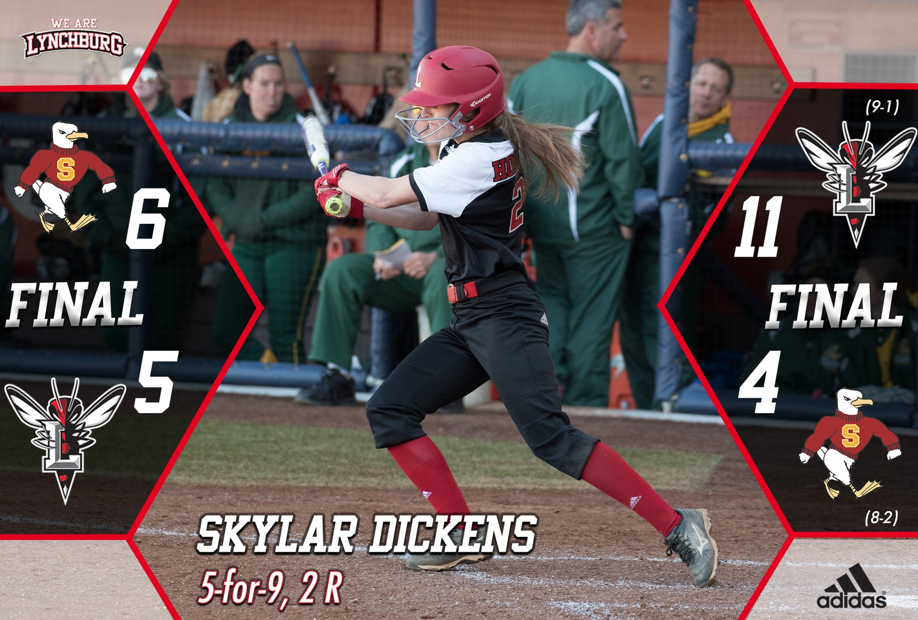 Skylar Dickens hits a softball. Text: Skylar Dickens 5-for-9, 2 R