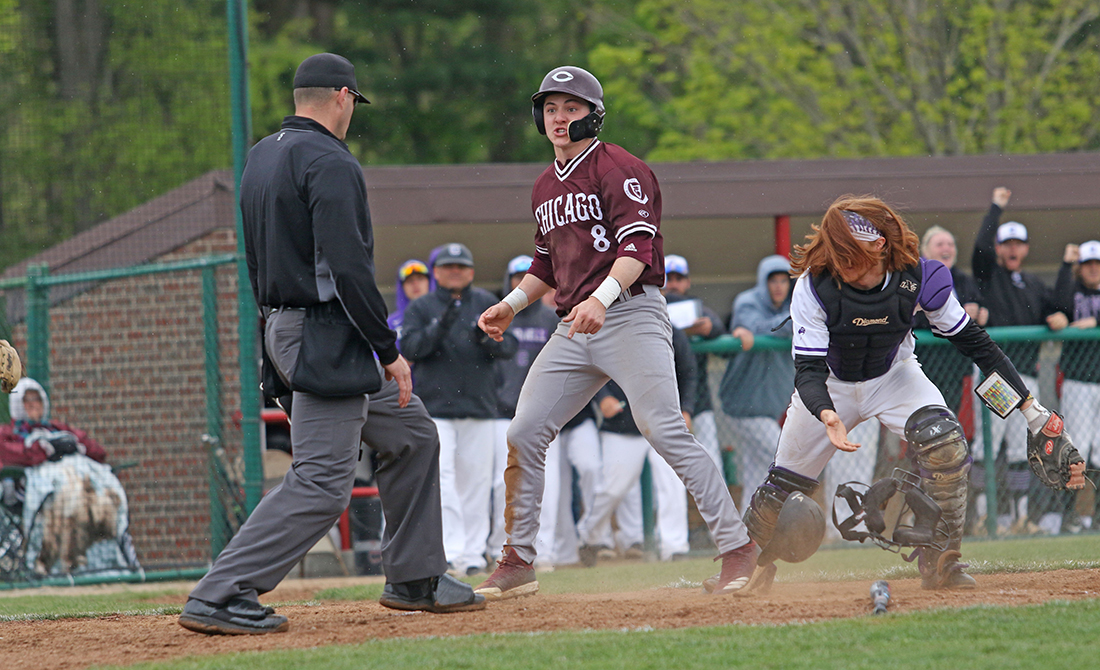 Payton Jancsy scores during the Maroons' game against Cornell College.