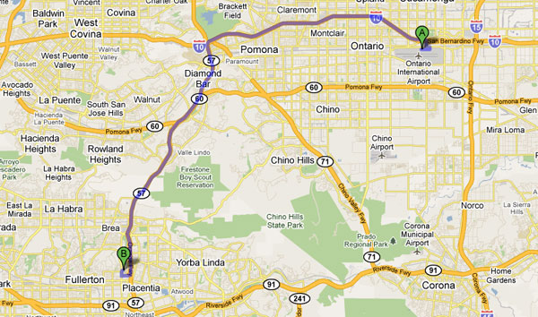 mapquest from Ontario Airport