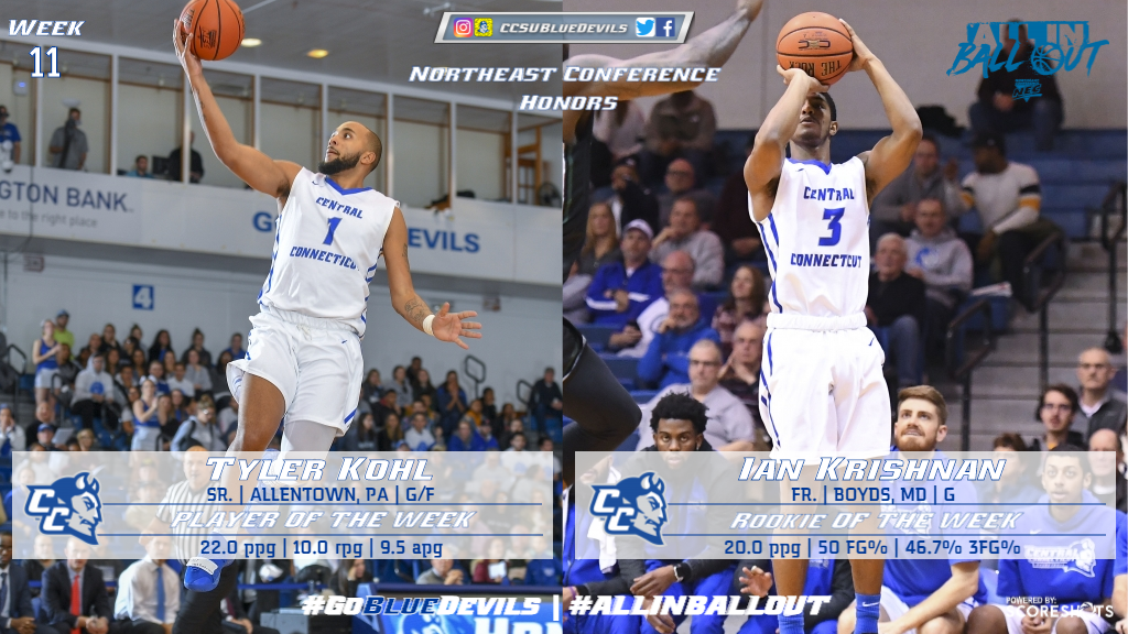 Kohl, Krishnan Earn Northeast Conference Weekly Honors