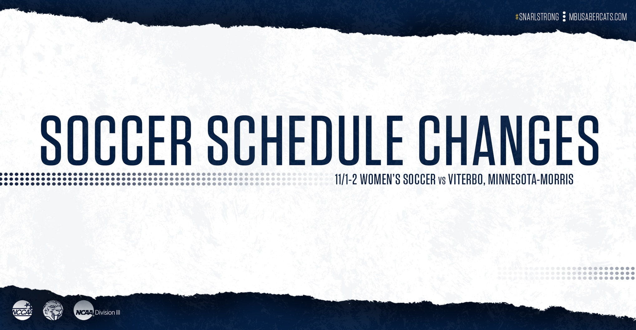 Women's Soccer Schedule Changes 11/1-2