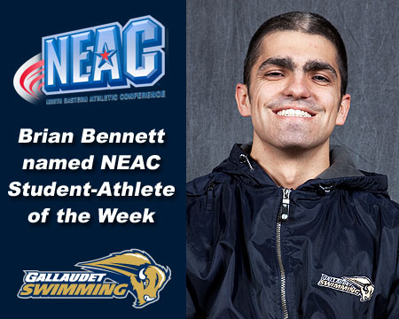 Bennett earns his second NEAC Men's Swimmer of the Week honor