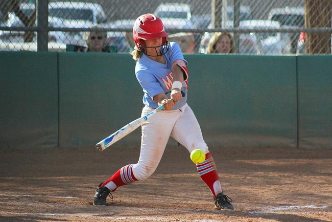 Kennedy Partee hit three double's Tuesday afternoon with the big one coming in extra innings of game two to score Mesa's go-ahead run at Chandler-Gilbert. (Photo by Aaron Webster)