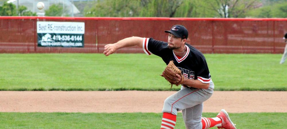 Noah Pierce delivers a pitch during today's second game. Photo by Nicholas Huenefeld/Owens Sports Information