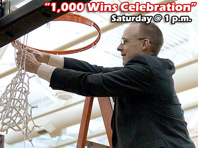 "FSU head coach Bill Sall, shown here cutting down the nets this past weekend, will help welcome back former players and staff this Saturday for the ""1,000 Wins Celebration"""
