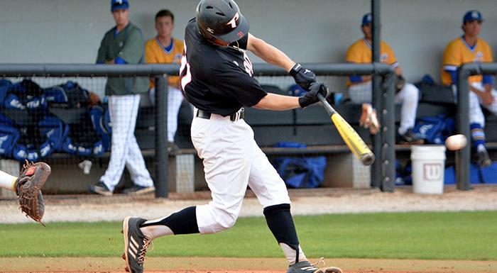Cody Burgess had four hits, three runs, and two RBI in tonight's 21-4 win. (Photo by Tom Hagerty, Polk State.)