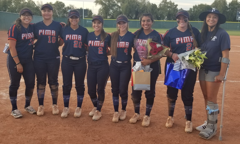 The eight sophomores were recognized after Tuesday's doubleheader (left to right): Edith Prieto, Alyssa Smith, Marissa Moreno, Chandler Arviso, Vanessa Duarte, Megan Flores, Sierra Gentry and Alyse Talamante. The Aztecs are 35-21 overall and 26-20 in ACCAC play. Photo by Raymond Suarez