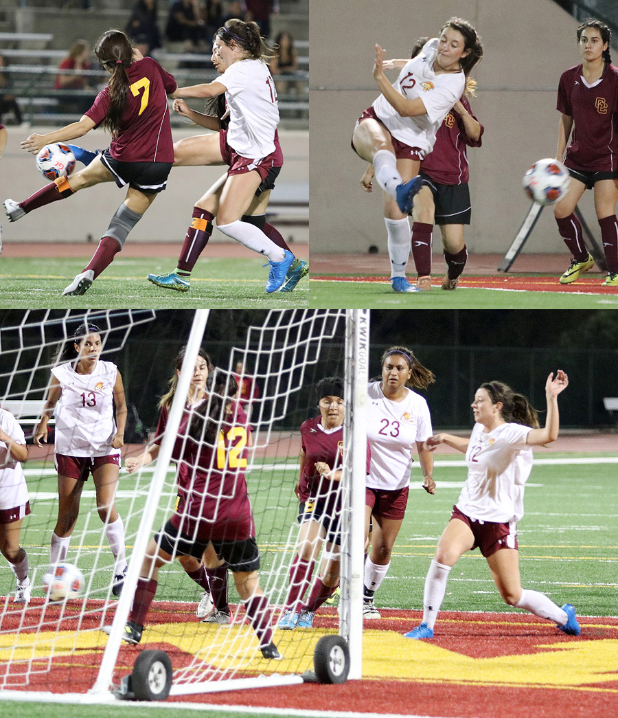 Lancer Chloe Twitchell scores her three goals at Glendale College Tuesday evening, photo collage by Richard Quinton.