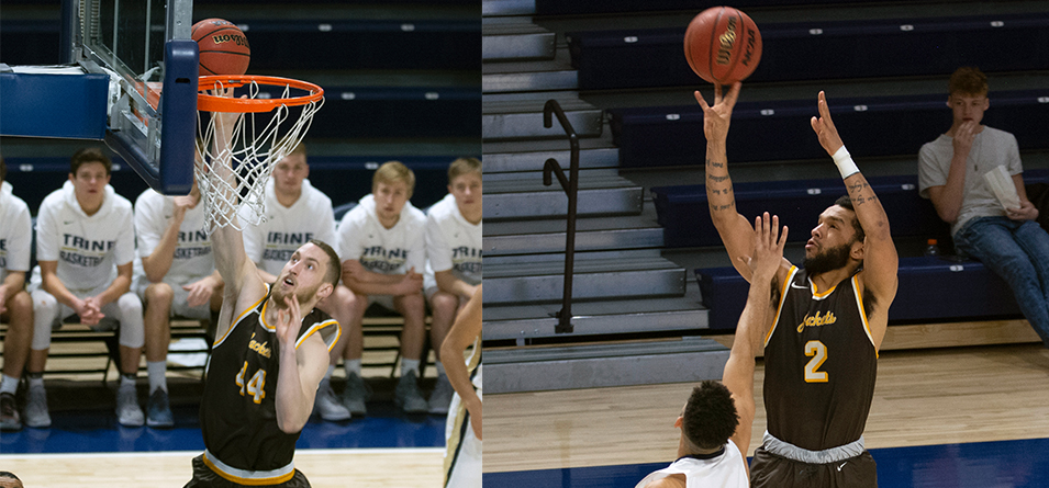 Junior Drew Sova set a career-high 18 rebounds and senior Jay Battle tied a career-high tying 29 points in the victory over Trine University