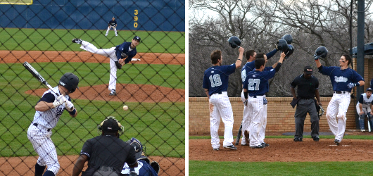 Byers' one-hit bid, Allred's grand-slam fuel Baseball to 10-0 victory in season-opener over East Texas Baptist University