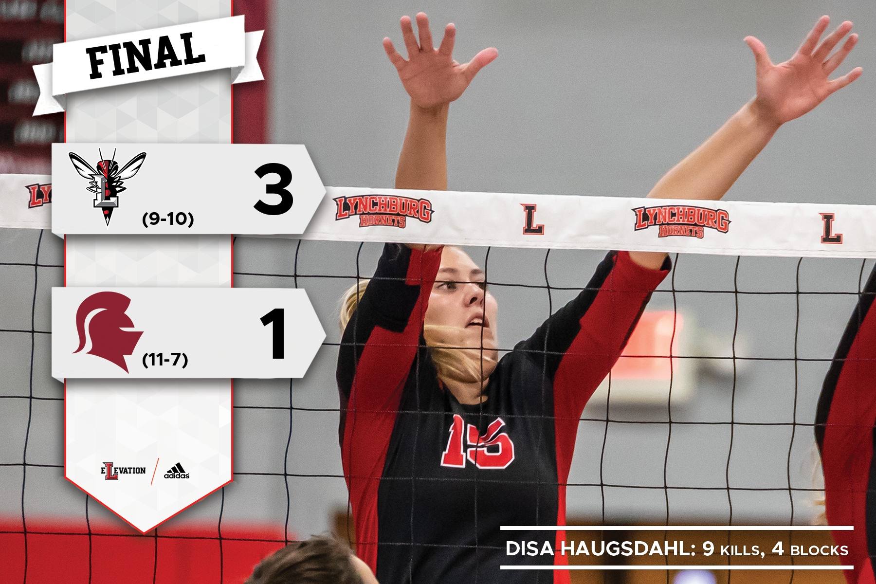Disa Haugsdahl jumps on the block. Graphic showing 3-1 final score.
