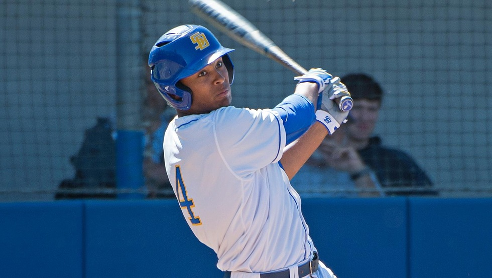 Armani Smith hit a three-run homerun on Tuesday to help the Gauchos rally past Cal State Bakersfield 9-5 on the road. (Photo by Eric Isaacs)