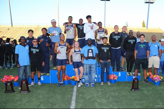The Cerritos men's track and field team placed third at the SoCal Championships