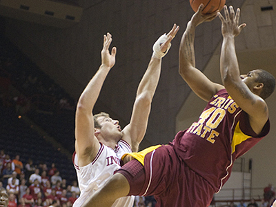 FSU's Justin Keenan shoots over an Indiana player in Monday's exhibition game (Photo by Ed Hyde, FSU Photo Services)