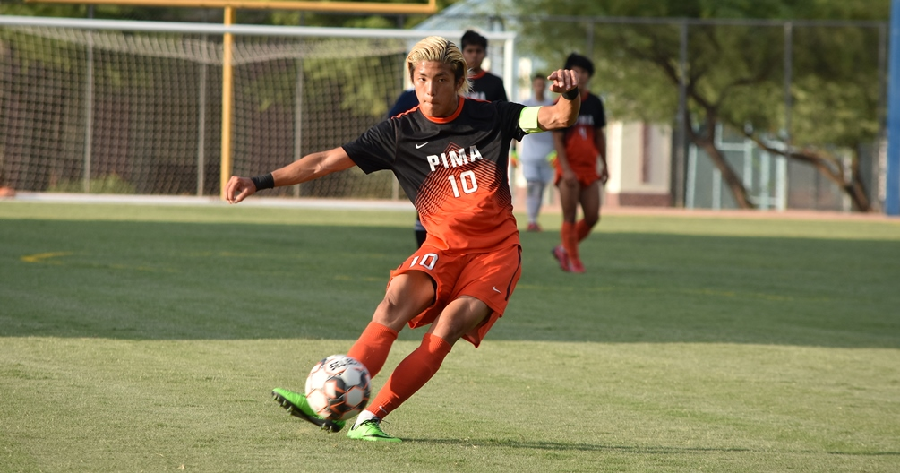 Sophomore Hugo Kametani came through with the golden goal in the 103rd minute as the No. 6 ranked Aztecs beat Chandler-Gil beat Community College 1-0 for their 10th win of the season. The Aztecs are 10-2 on the season. Photo by Ben Carbajal