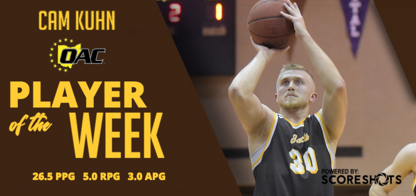 Kuhn Earns Fourth Career OAC Men's Basketball Player of Week Honor