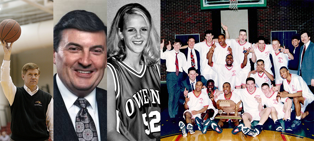 L to R: Jim Welling, Dan Brown, Amy (Amstutz) Zuercher and the 1992-93 men's basketball national championship team will be inducted into the Owens athletics hall of fame on Sept. 30. PHOTOS BY OWENS SPORTS INFORMATION