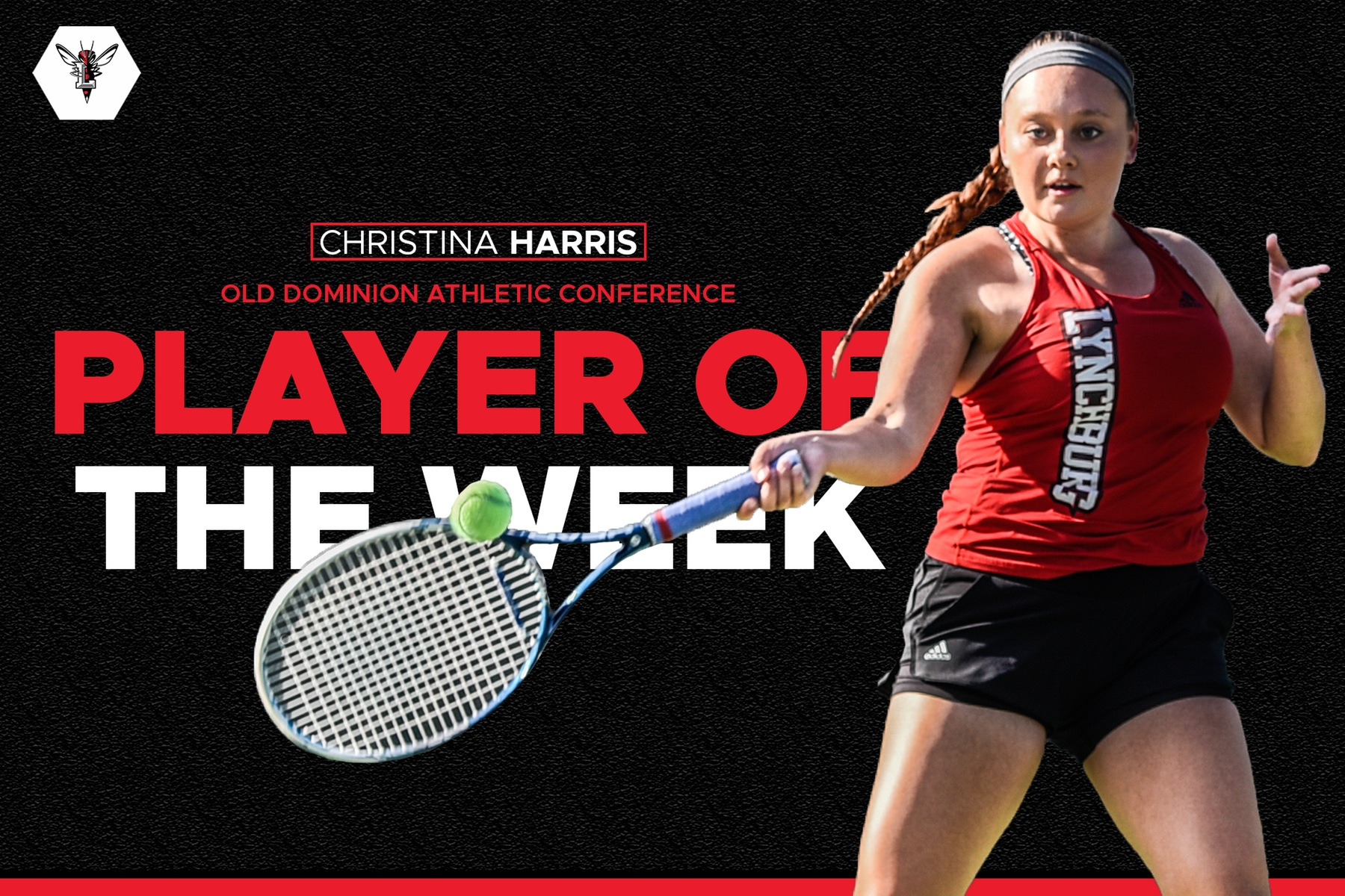 Christina Harris hits a forehand on black background that says player of the week in red and white text