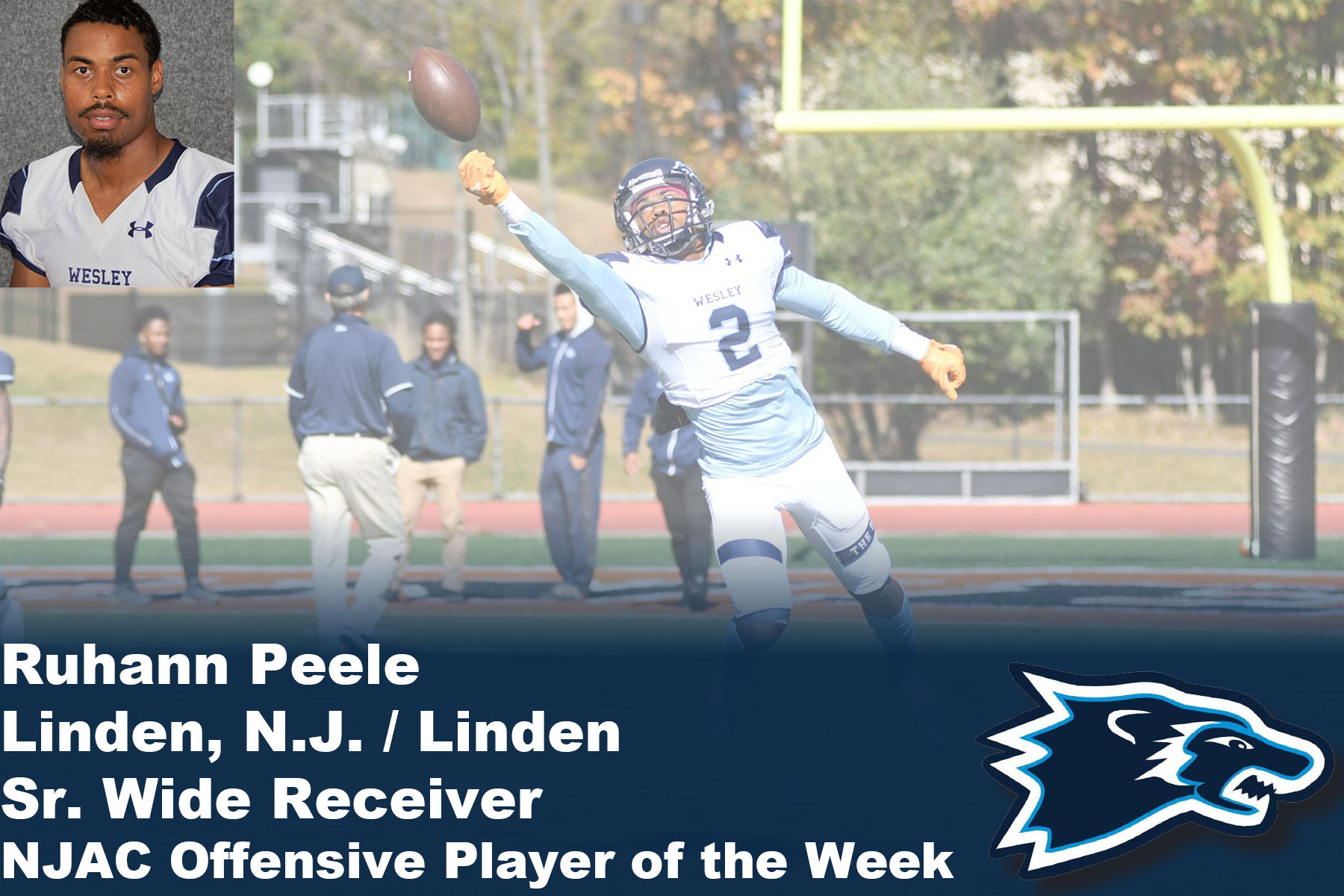 Peele Earns 3rd NJAC Offensive Player of the Week