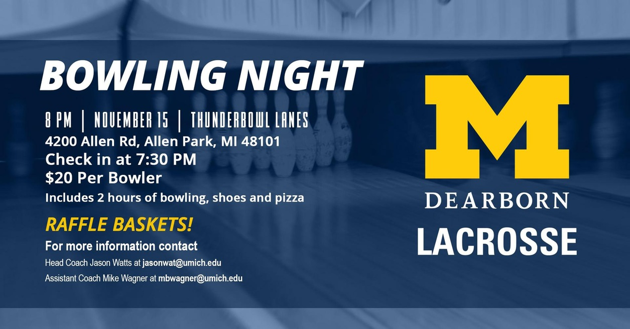 Men's Lacrosse Bowling Night set for Nov. 15
