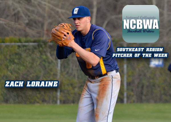 Loraine Named NCBWA Southeast Region Pitcher of the Week