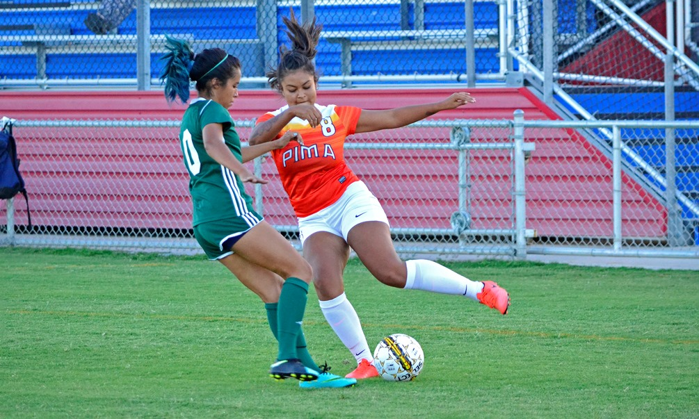 Sophomore Daelyn Mayer was one of five Aztecs to score a goal in Pima's 8-0 rout against Glendale Community College. The Aztecs have won five straight and are now 13-4-1 on the season. Photo by Ben Carbajal.