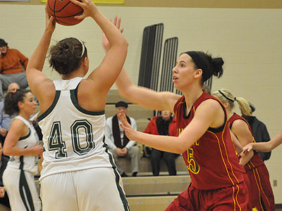 Freshman Nikki Arner pressures the ball at Lake Erie (Photo by Rob Bentley)