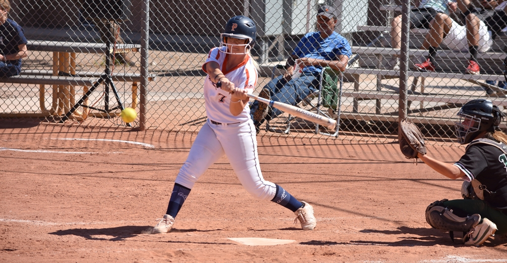 Freshman Sarrah Jones went 2 for 3 with an RBI in the first game but the Aztecs were swept at Eastern Arizona College on Saturday in Thatcher. The Aztecs are 31-17 overall and 22-16 in ACCAC conference play. Photo by Ben Carbajal.