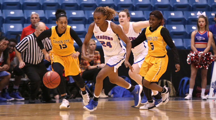 Vivian Chigbu chases down a loose ball and scored at the halftime buzzer. The play was huge in Hutchinson's 55-37 victory over Garden City in the Region VI Tournament Quarterfinals on Monday at Hartman Arena in Park City. (Joel Powers/Blue Dragon Sports Information)