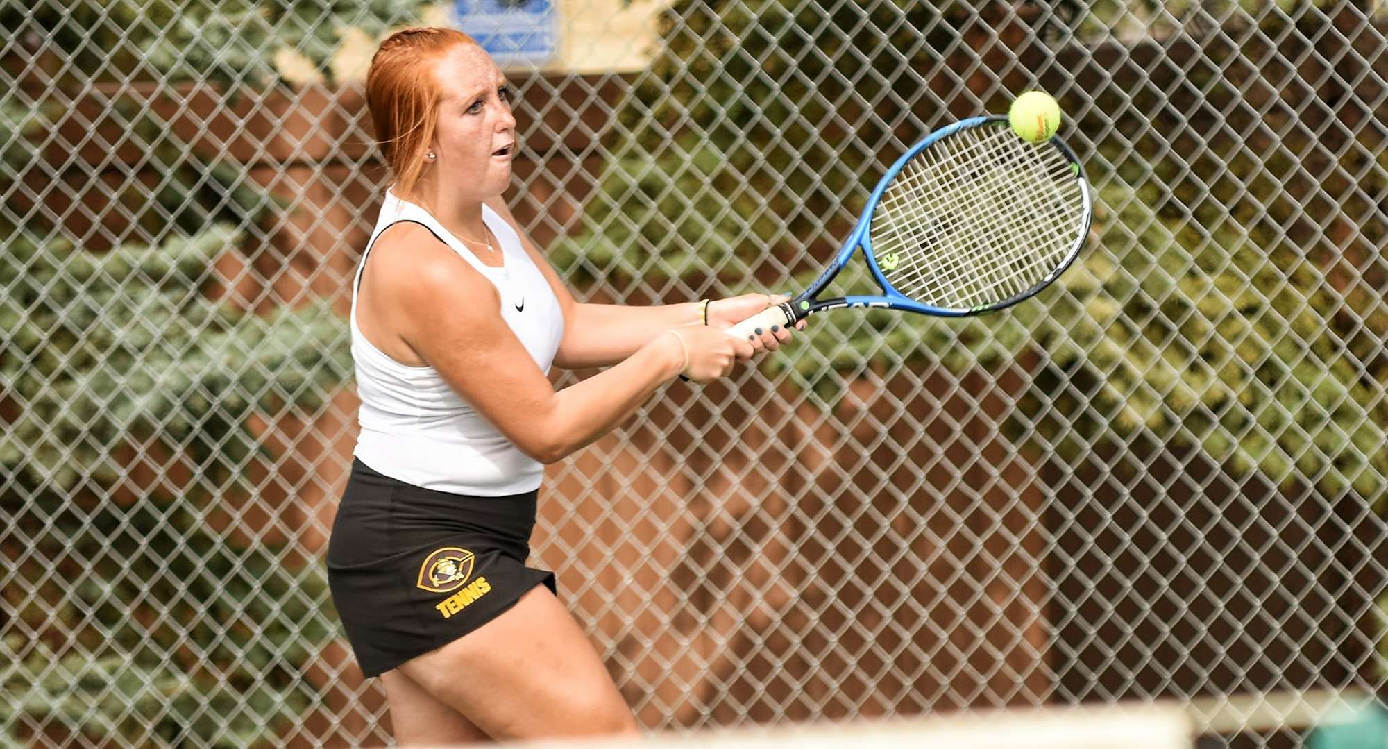 Freshman Izzi Nankivel earned her first collegiate win in the Cobbers' 9-0 season opener at Crown.