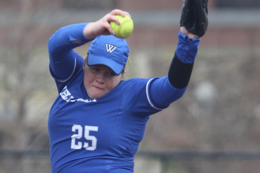 Senior Madeline Bianchi led the Blue pitchers with three strikeouts in game two (Robert Oliver).